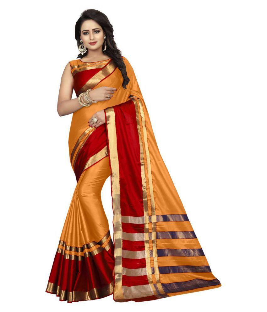 Jesti Designer Maroon,Yellow Cotton Silk Saree