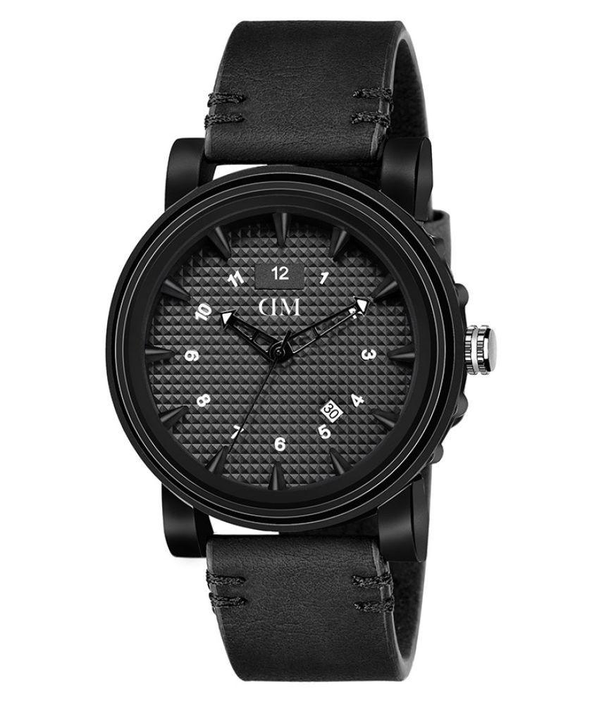 David Miller Black Dial Black PU Leather Strap Men's Watch - DMRCM110