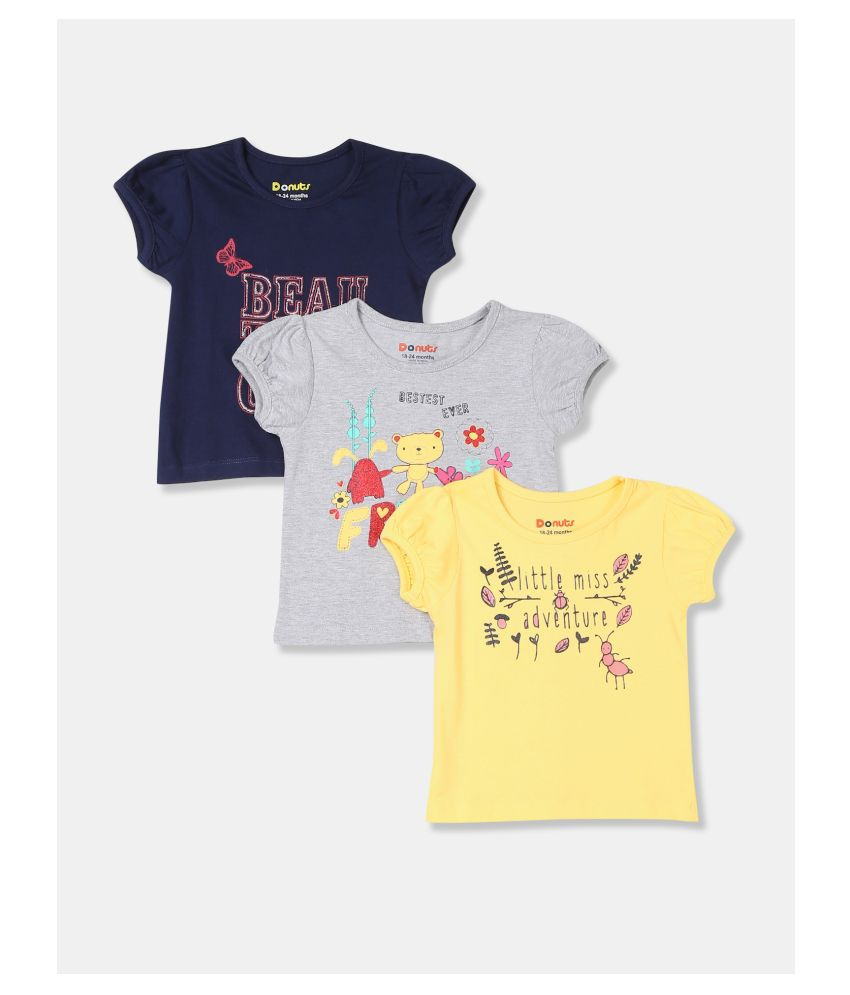 Girls Assorted Puff Sleeve Graphic Print T Shirt   Pack Of 3