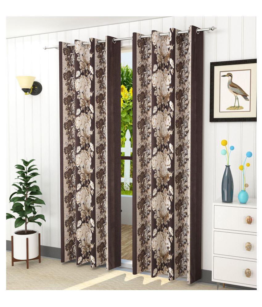 Homefab India Set of 2 Door Blackout Room Darkening Eyelet Polyester Curtains Brown