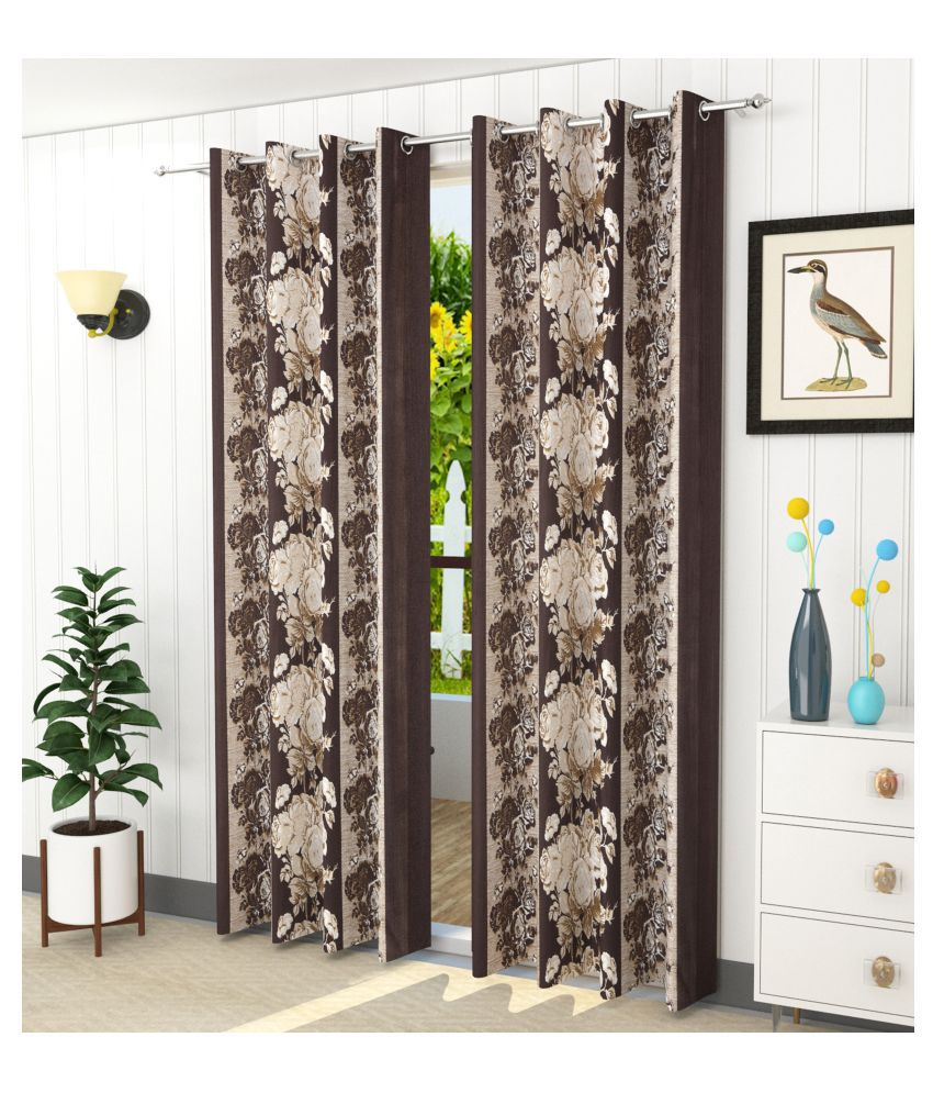 Homefab India Set of 2 Window Blackout Room Darkening Eyelet Polyester Curtains Brown