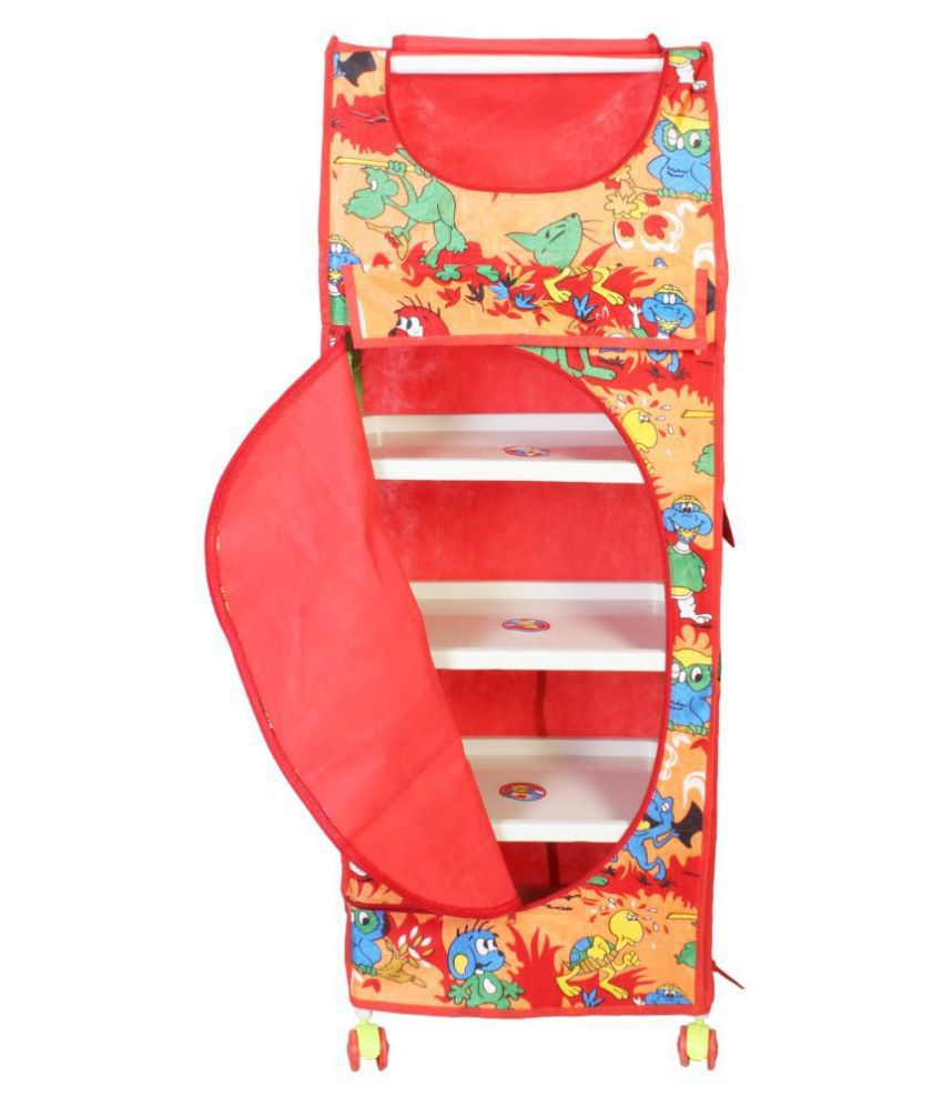 HOUZIE Multipurpose 5 LAYER RACK SHELVES Toy Box/Almirah   5 Shelves RED