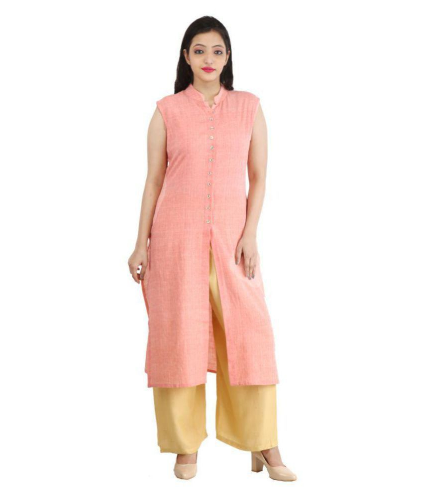 RS Collection Orange Cotton Straight Kurti