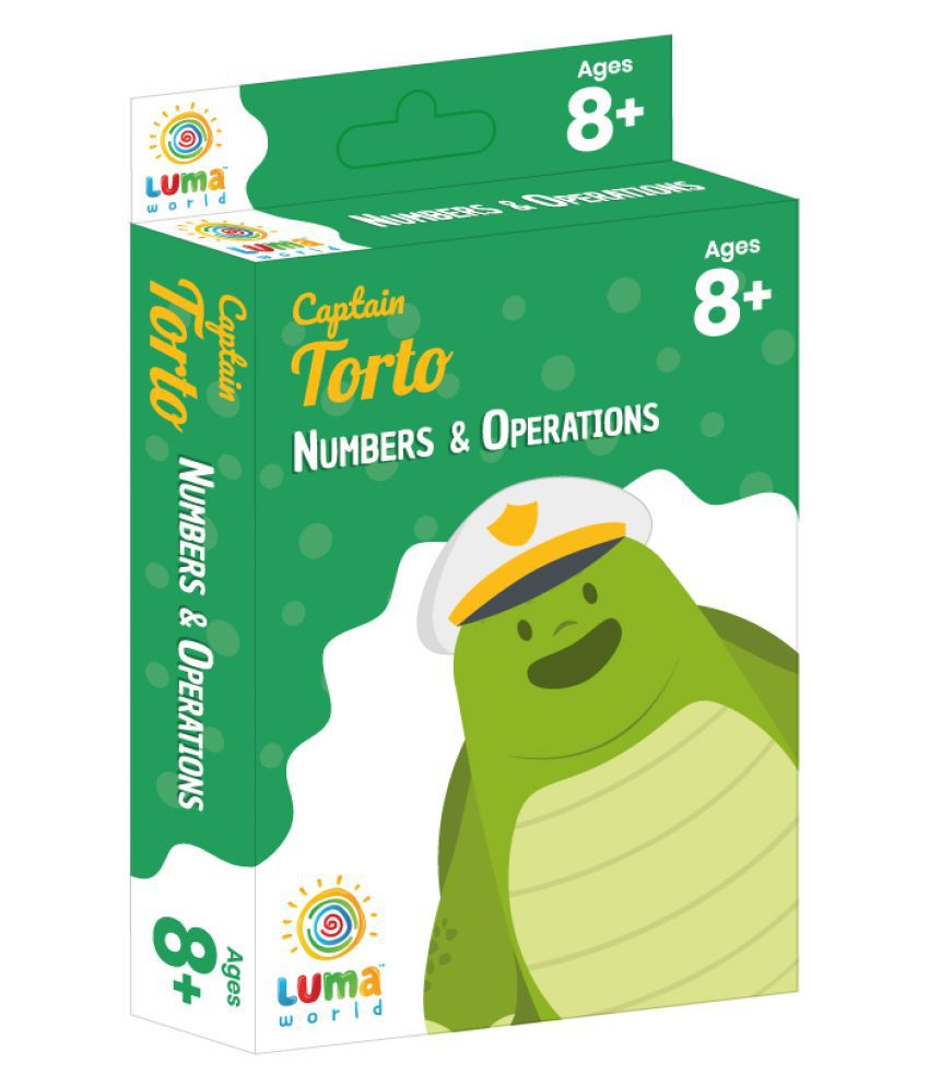 Educational Flash Cards for Ages 8 and Up: Captain Torto | Game-based Maths Flash Cards with Magic Glass to view Hidden Answers | Learn Grade 3 Numbers & Operations (Set of 50 Cards)