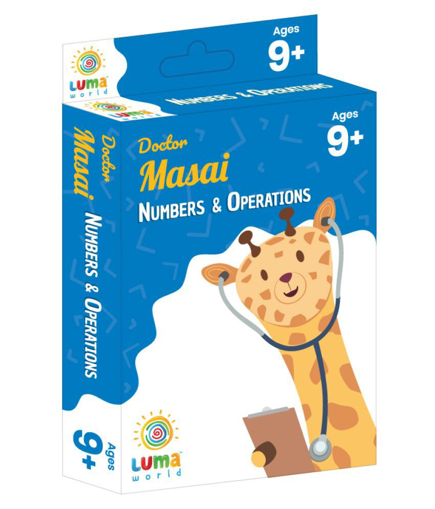 Educational Flash Cards for Ages 9 and Up: Doctor Masai | Game-based Maths Flash Cards with Magic Glass to view Hidden Answers | Learn Grade 4 Numbers & Operations (Set of 50 Cards)