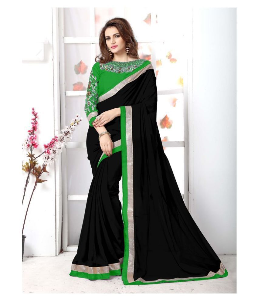 Onlinefayda Black Georgette Saree