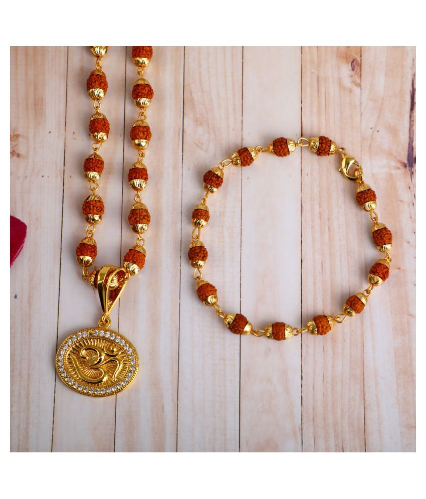 DIPALI OM Locket With Puchmukhi Rudraksha Mala AND BRACELET Gold-plated Brass,FOR MEN AND BOYS