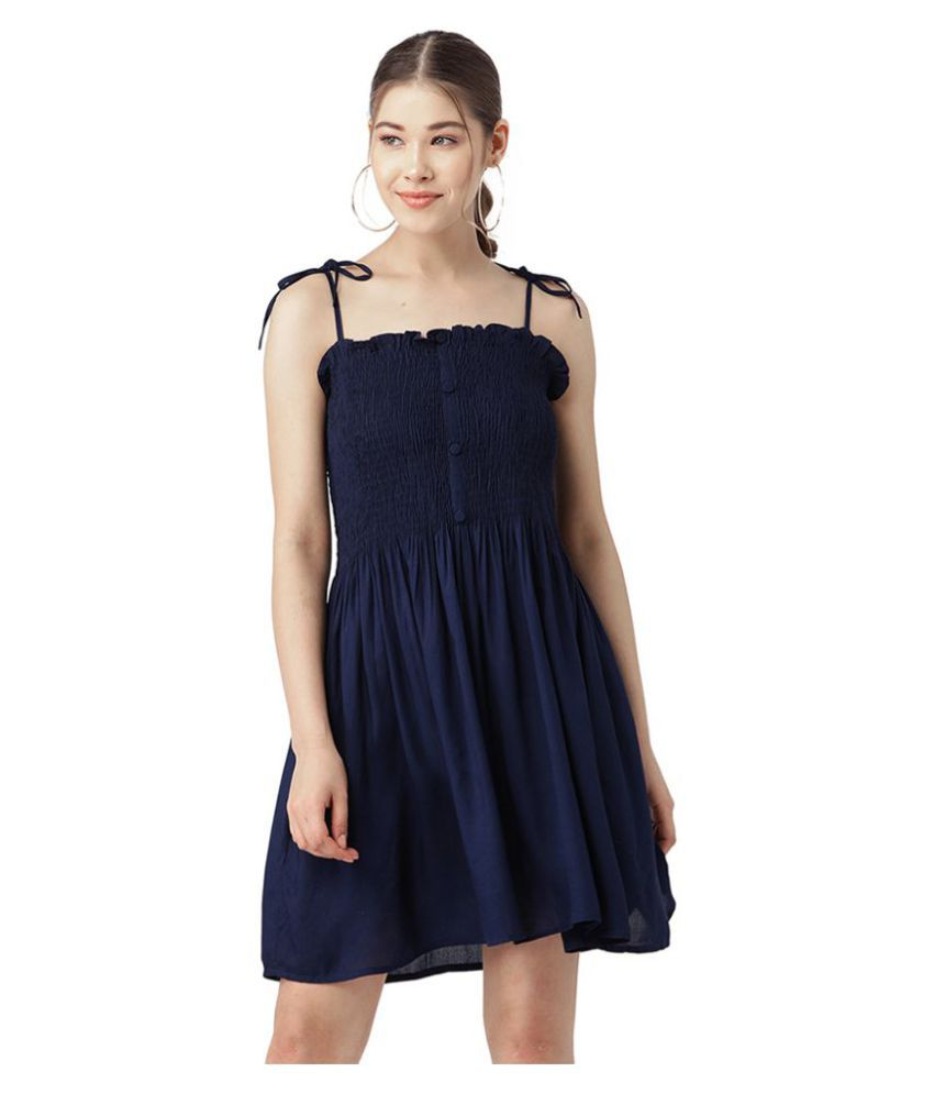 Trend Arrest Polyester Navy Fit And Flare Dress