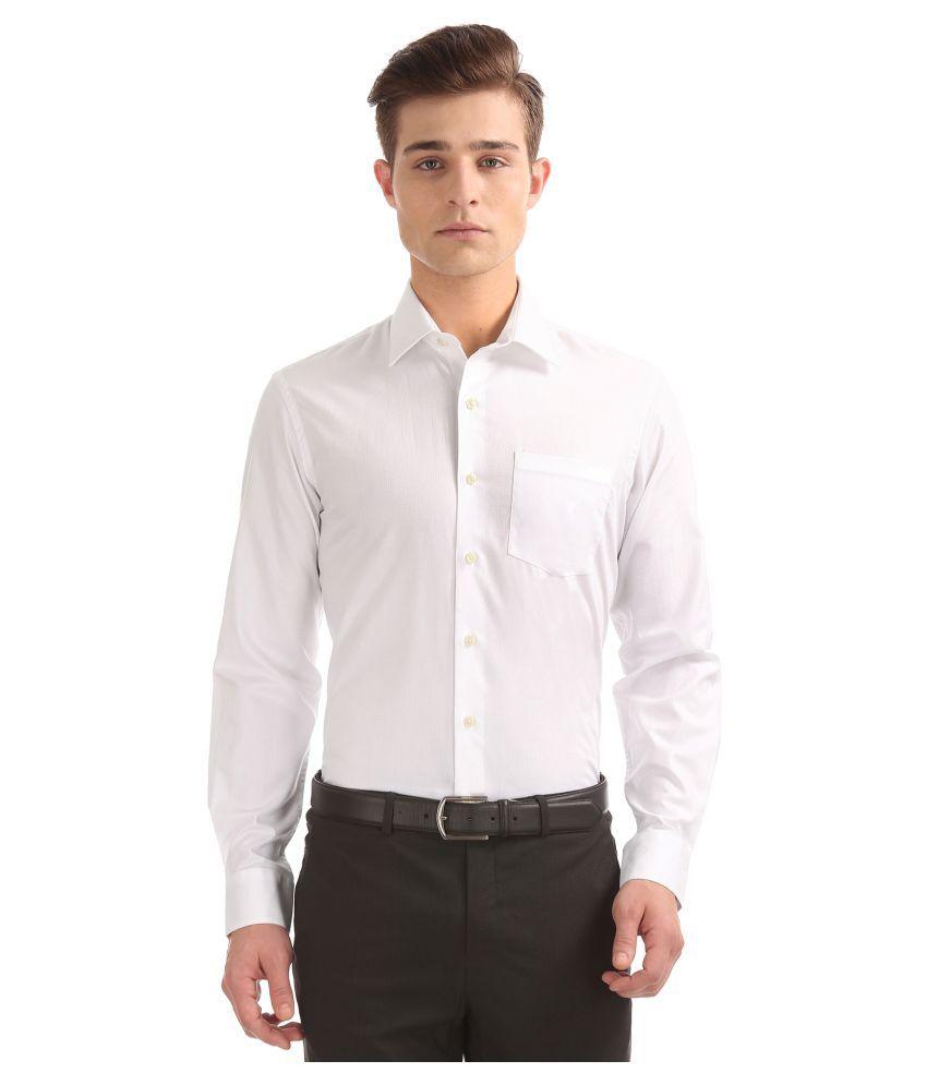 Arrow Cotton Blend White Solids Formal Shirt