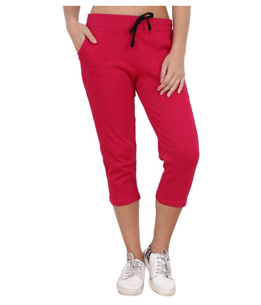 Shellocks Pink Cotton Solid Capri