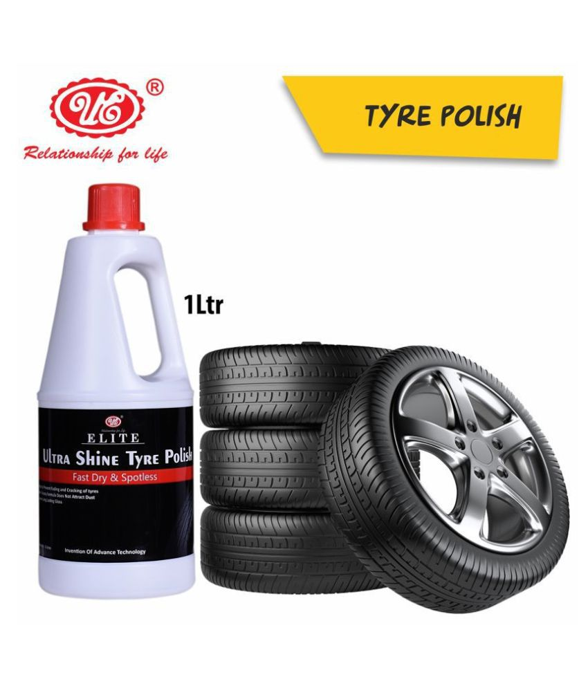 UE Elite Ultra Shine Tyre Polish to Shine Black Look, Dry to Touch, Zero dust Attraction & Spotless - 1 Liter Car Care/Car Accessories/Automotive Products
