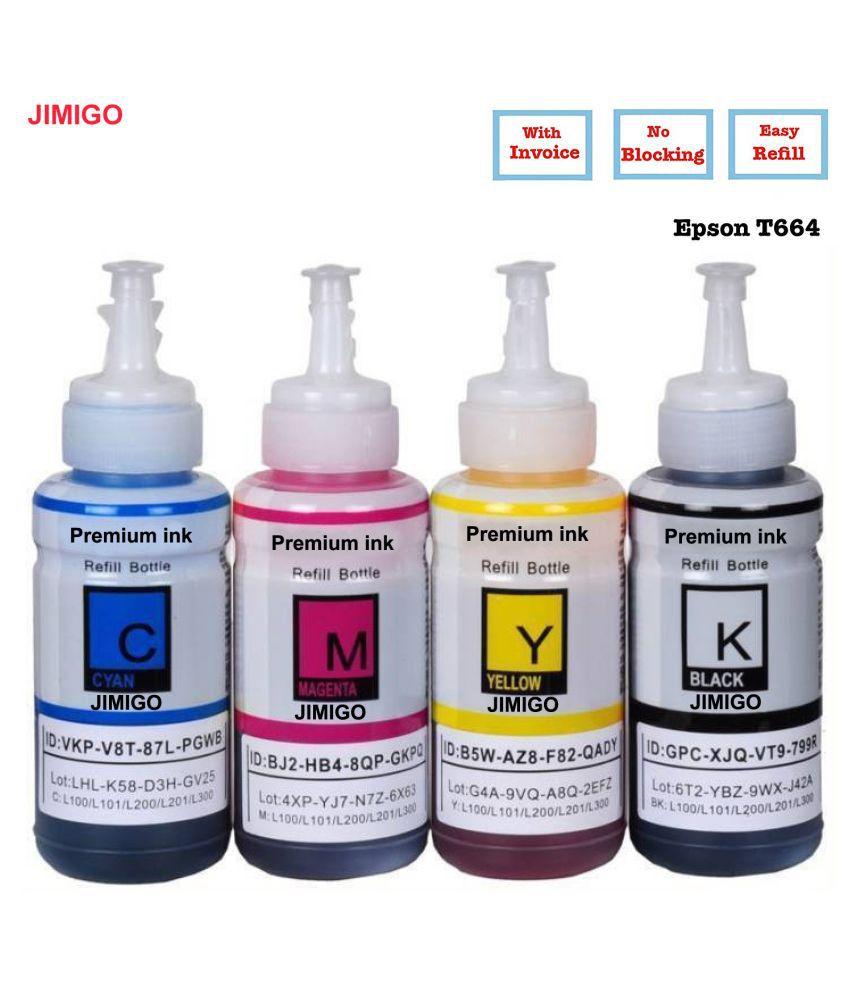 JIMIGO INK FOR EPSON L605 Multicolor Pack of 4 Ink bottle for Refill ink for Epson L130,L210,L220,L350,L360,L361,L365,L380,L385,L455,L485,L550,L555,L565