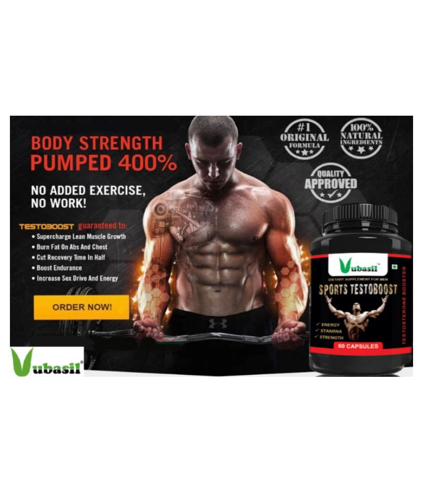 VUBASIL Best Natural Testoboost (60 Capsules) Pure Herbal Testosterone Booster Supplement For
