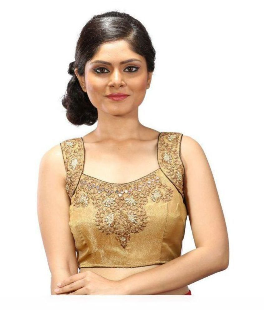 Intrigue Gold Silk Readymade with Pad Blouse
