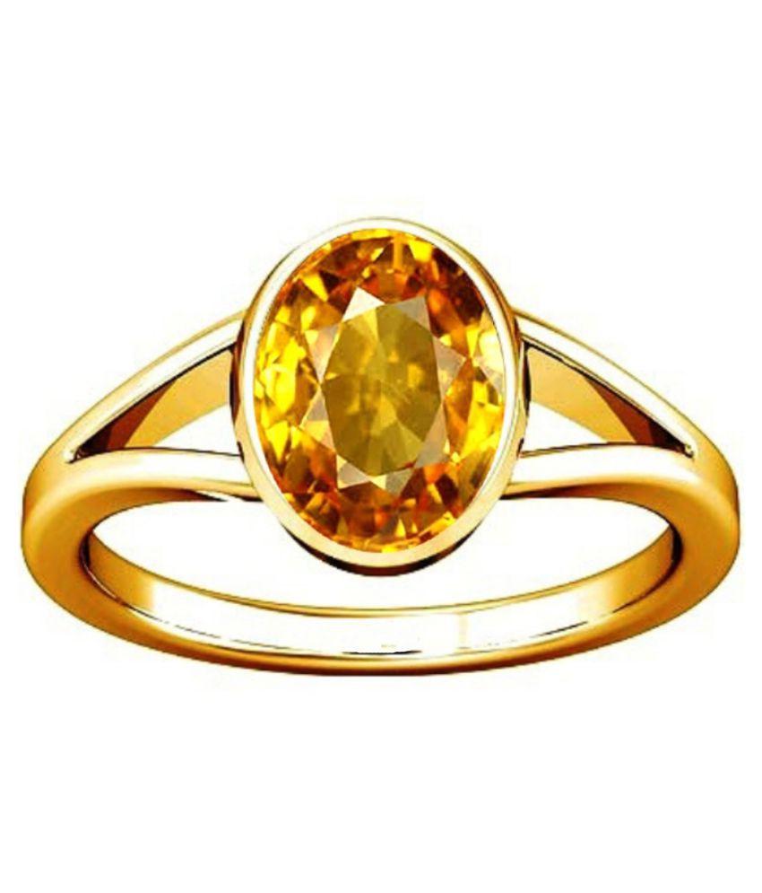 Divya Shakti 7.25-7.50 Ratti Citrine Golden Topaz Sunhela Panchdhatu Ring Natural Gemstone AAA Quality