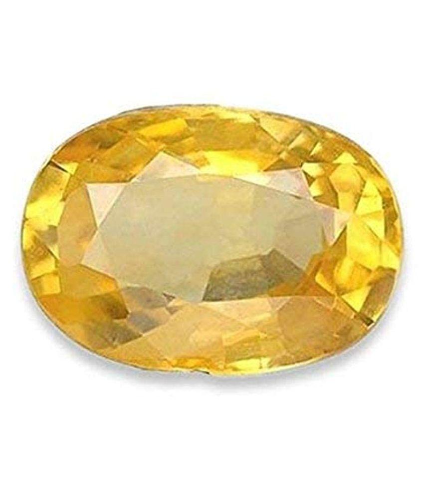 GEMS WORLD 4.00 Carat Natural Lab Certified Ceylon Yellow Sapphire Gemstone Pukhraj Genuine Precious Loose Stone Pukhraj Oval Cut Faceted Gemstone September Birthstone for Unisex