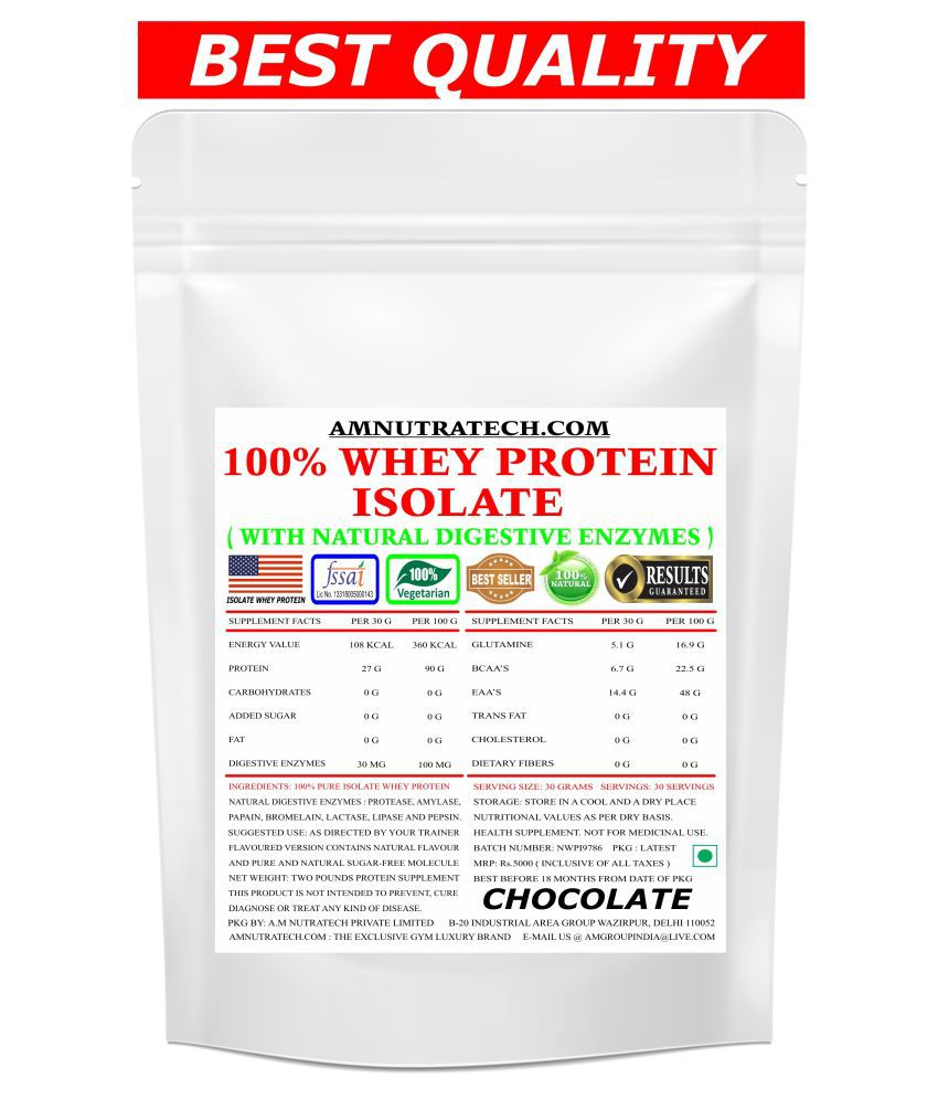 AM NUTRATECH Whey Protein Isolate ( Chocolate Flavour ) 2 lb