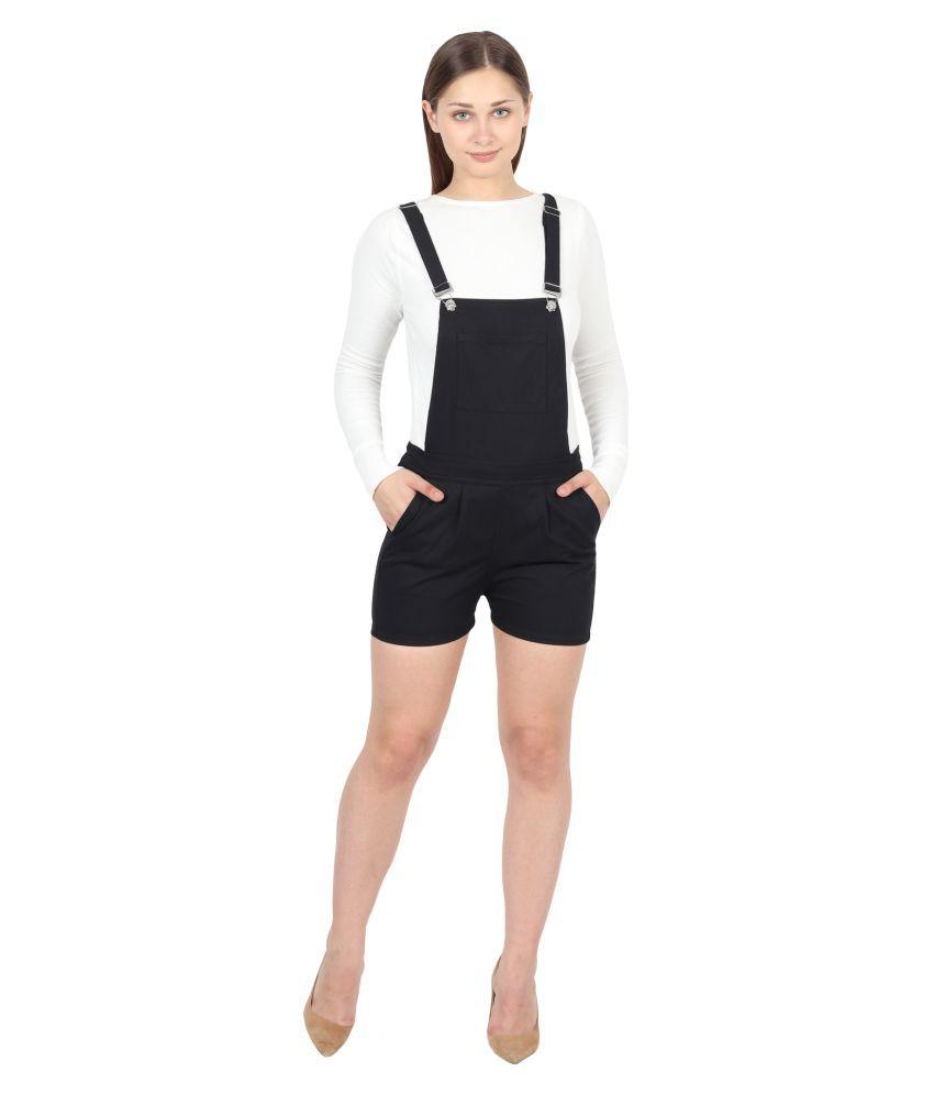 FineCreations Black Cotton Jumpsuit