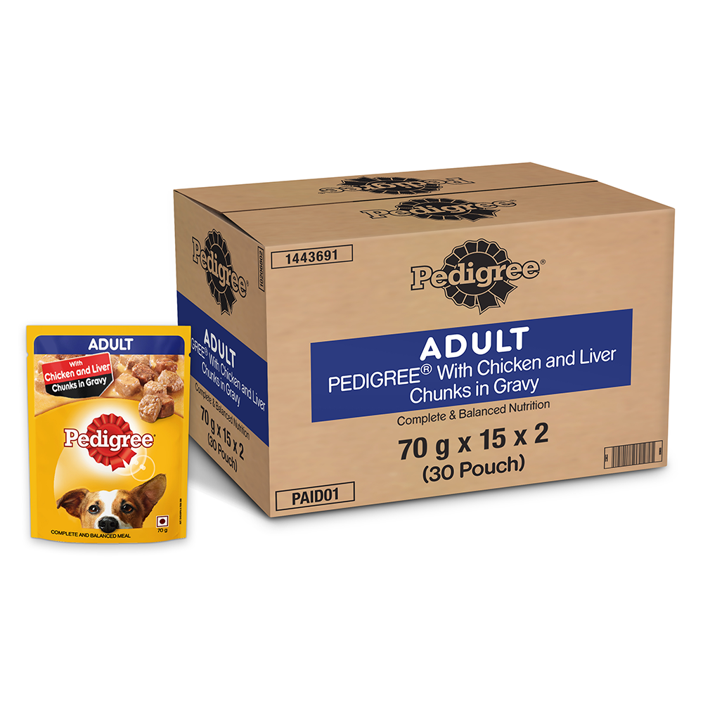 Pedigree Adult Wet Dog Food, Chicken and Liver Chunks in Gravy, Pack Of 30 Pouches (70gmx30)