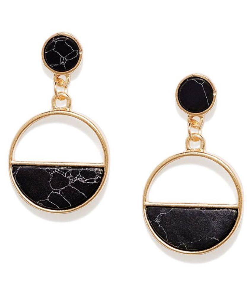 OOMPH Jewellery Gold Tone Vintage Retro Style Large Hoop Fashion Drop Earrings for Women & Girls