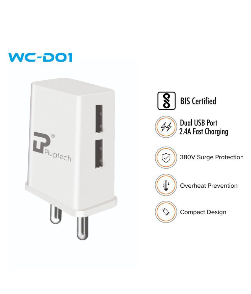 Plugtech WC D01 2. 4 Dual Port A Fast Wall Charger for All Mobiles, Tablets and Devices with Micro USB Cable  White