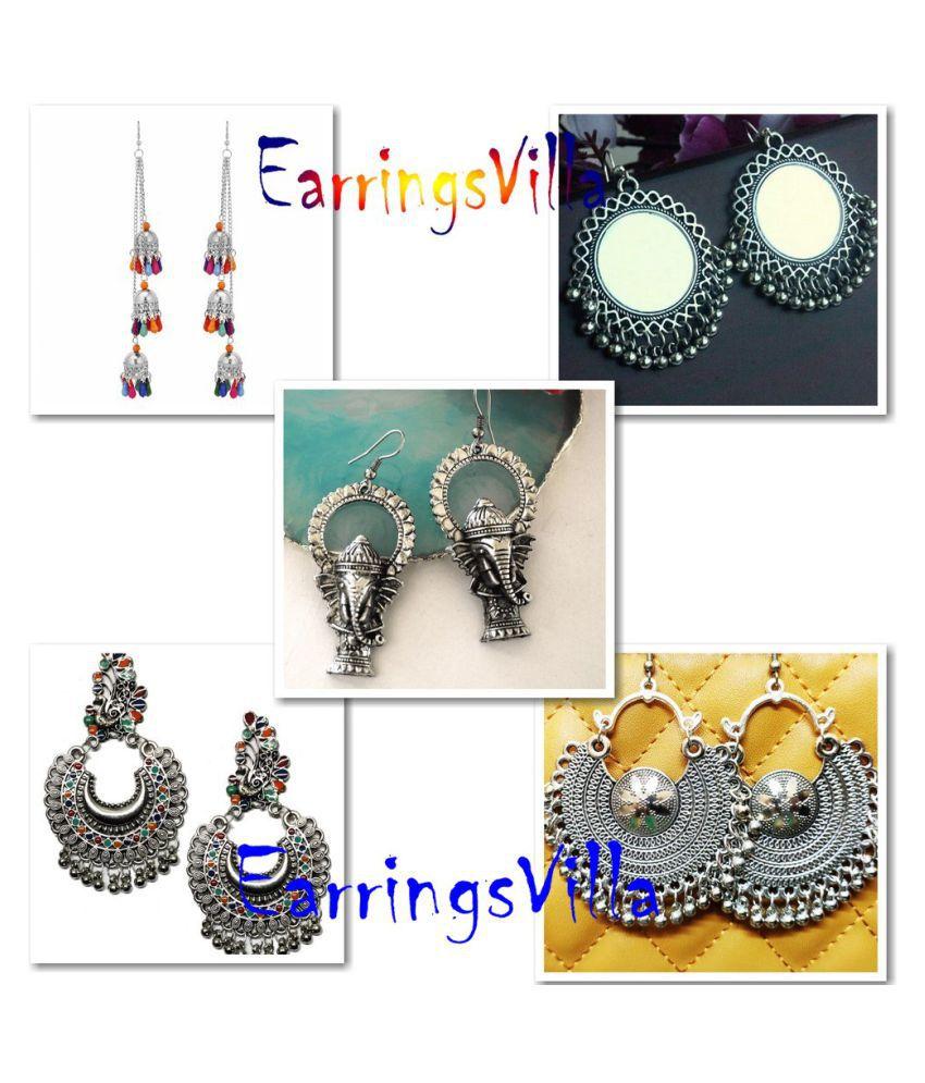 Earrings Latest Trendy Jhumki Bollywood Oxidised Stylish Afghani Tribal Earrings Fancy Party Wear Chandbali Combo of 4 Earrings