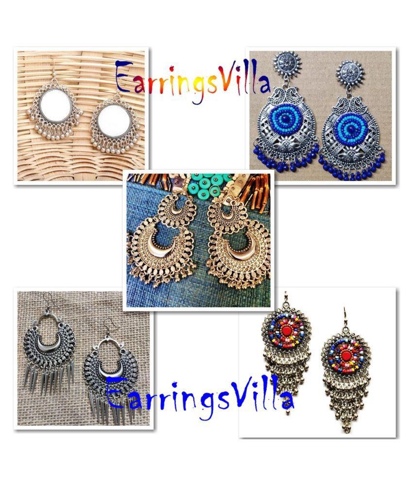 EarringsVilla New Silver Designer Kashmiri Dangle Trendy Oxidized Earrings for Women and Girls Combo of 4 Earrings
