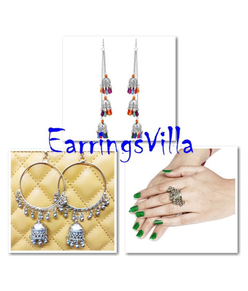 Fashion Jewellery Latest Silver Earrings, Danglers Jhumki Traditional Earrings EarringsVilla Combo Combo of 3 Earrings