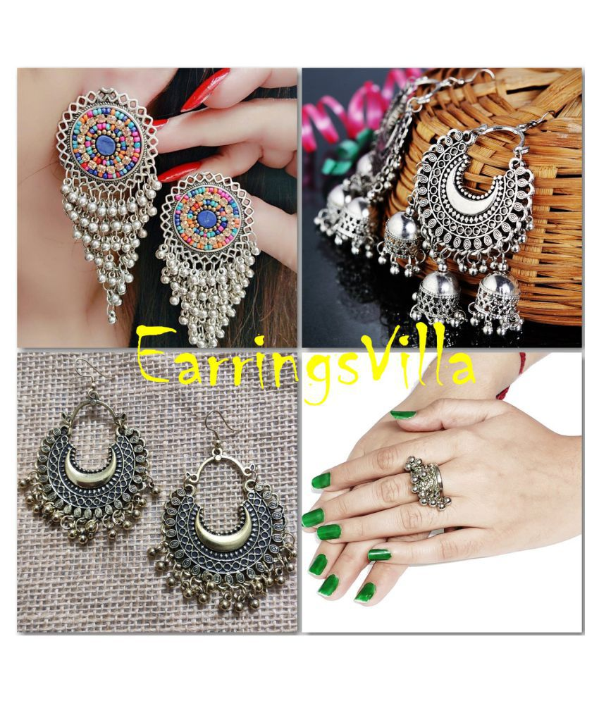 Silver Jhumki Traditional Fashion Earrings New Arrival Silver Trendy Bollywood Oxidised Stylish Afghani Fashion Earrings Combo of 4 Earrings