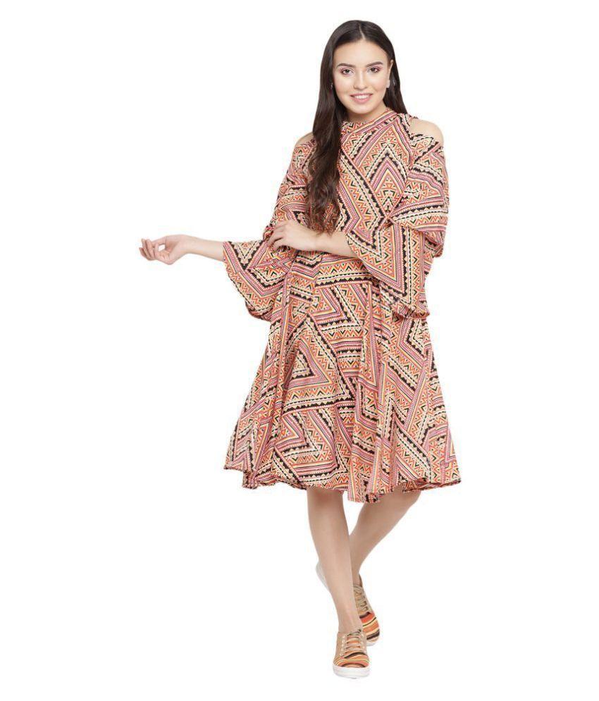 Abiti Bella Crepe Multi Color Fit And Flare Dress