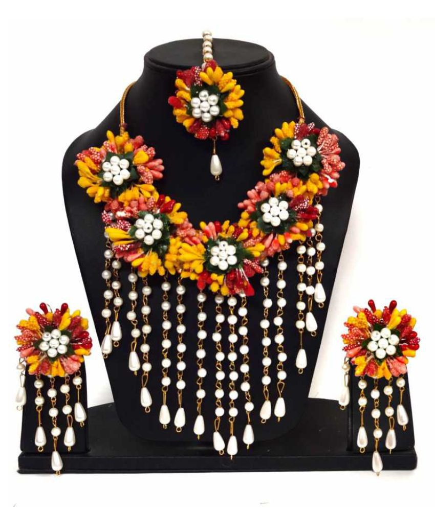 LAMANSH Flower Jewellery Set For Haldi,Mehendi Artificial Floral Jewelry Set For Women Bridal Jewellery Set For Wedding&Engagement