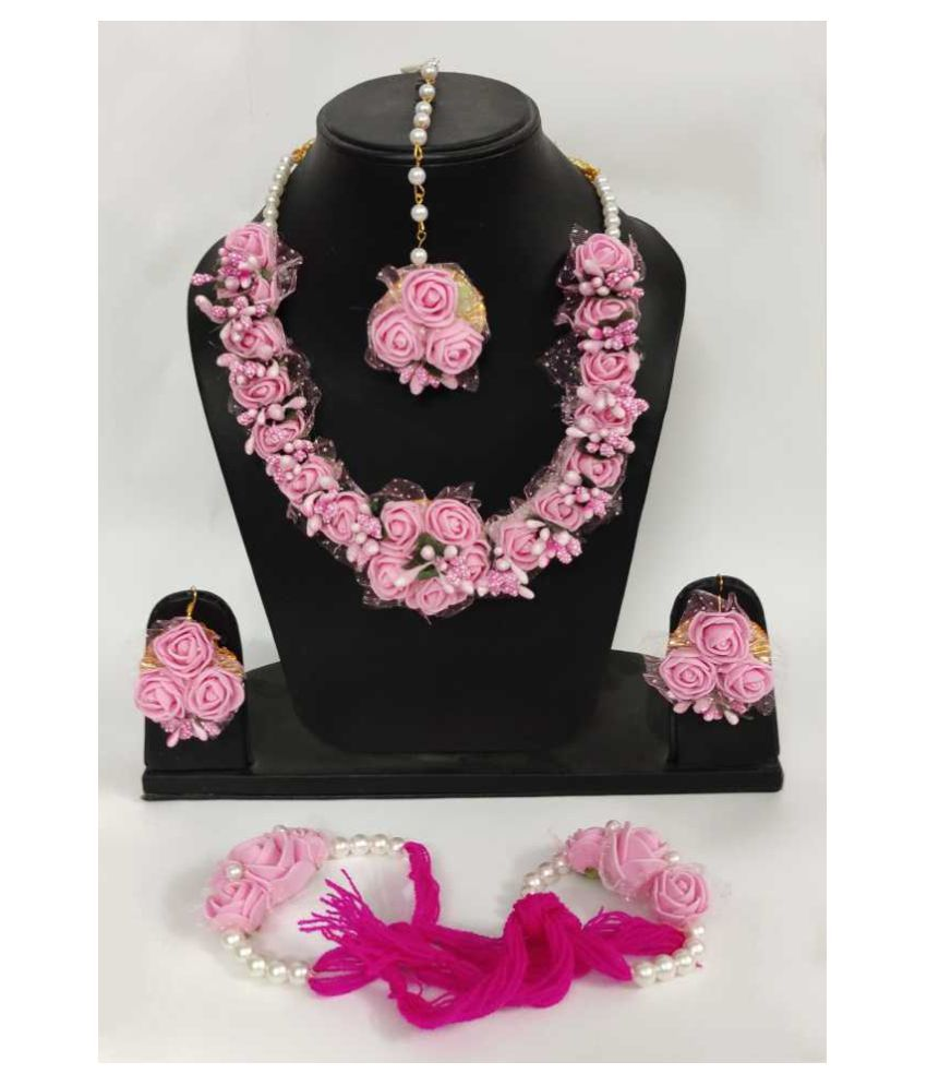 LAMANSH Haldi Jewellery Set For Haldi,Mehendi Flower Jewelry Set For Women Floral Jewellery Set For Wedding & Engagement