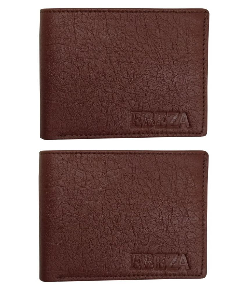 EBEZA Faux Leather Brown Casual Regular Wallet