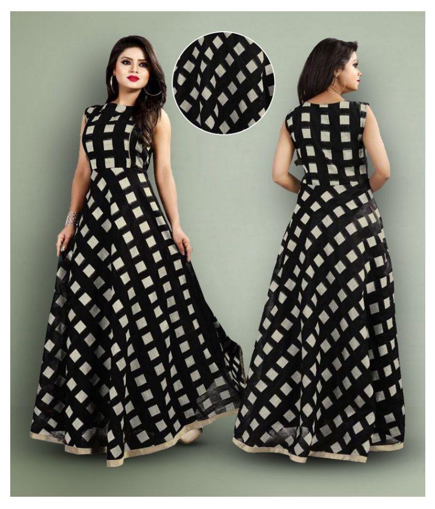 Lee Fashion Chiffon Black Fit And Flare Dress