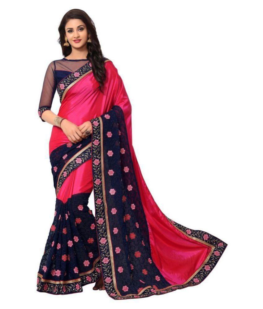 Onlinefayda Red,Black Silk Saree
