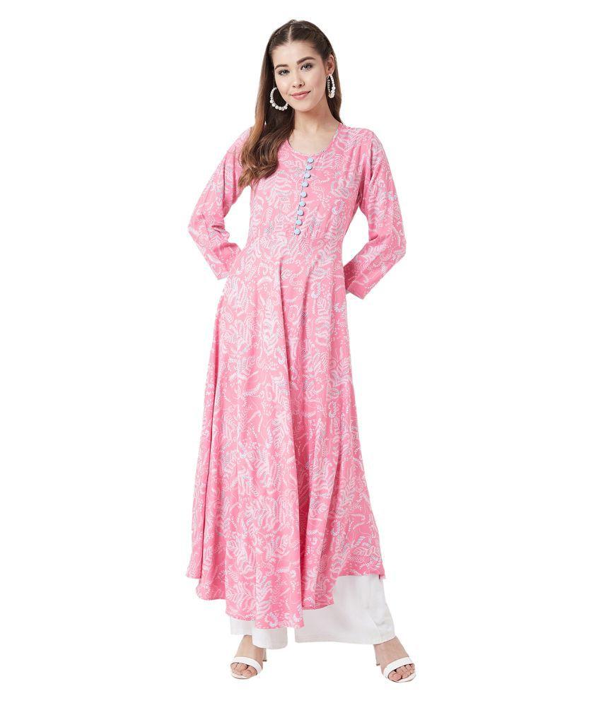 Tissu Pink Rayon Anarkali Kurti