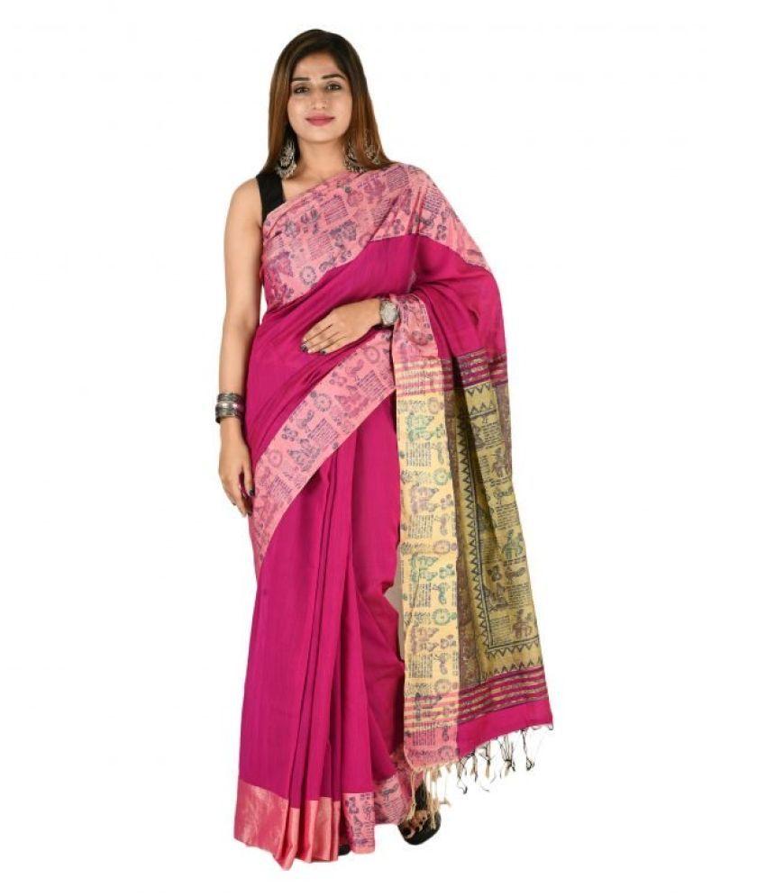 Tribes India Pink Cotton Blend Saree
