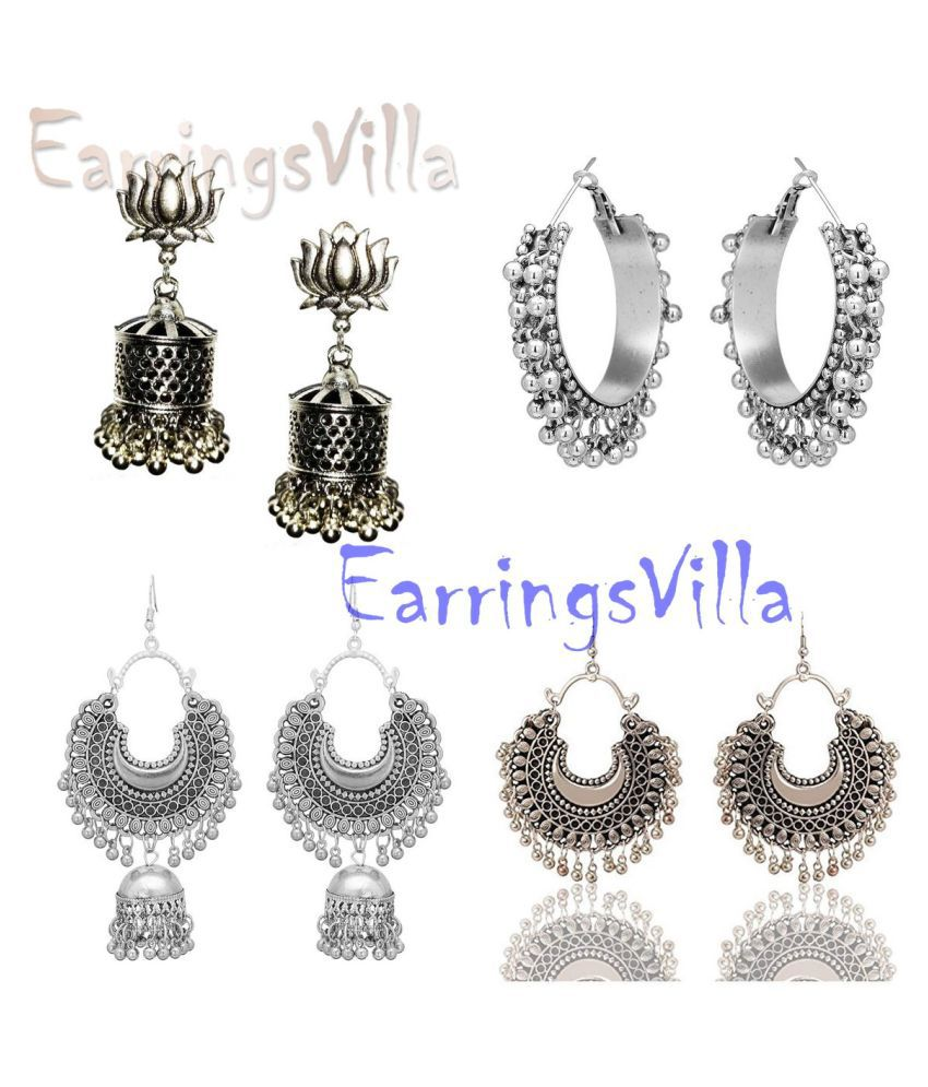 Latest Earrings Trendy Jhumki Bollywood Oxidised Stylish Afghani Tribal Earrings Fancy Party Wear Chandbali Combo of 4 Earrings