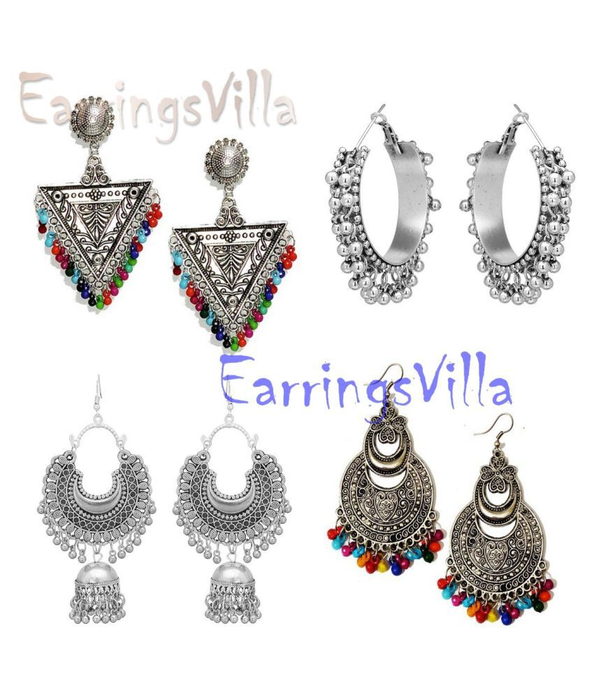 Latest New Designer Kashmiri Silver Dangle Oxidized Earrings for Women and Girls Combo of 4 Earrings