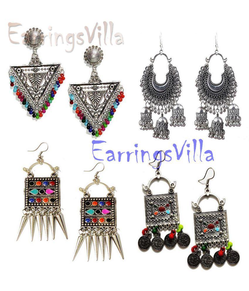 Trendy Fashion Jewellery Silver Earrings, Danglers Jhumki Traditional Earrings Combo Combo of 4 Earrings