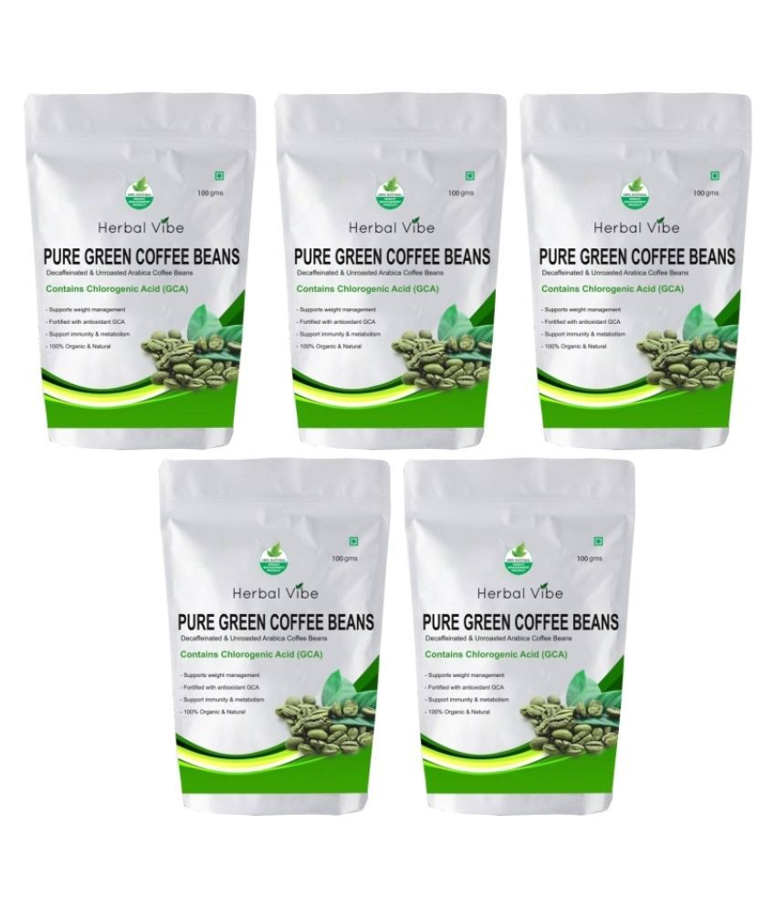 Herbal Vibe Pure Green Coffee Beans for Weight Loss 500 gm Natural Pack of 5