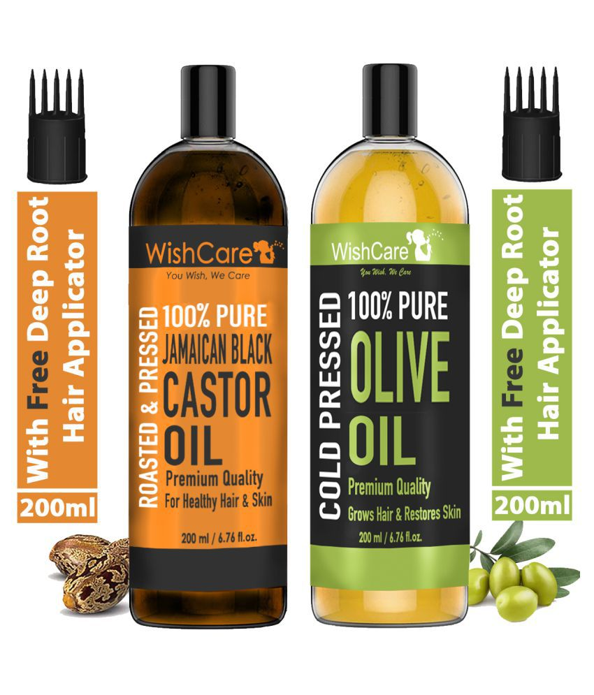 WishCare Jamaican Black Castor Oil and Olive Carrier Oil For Hair and Skin -200 ml Each