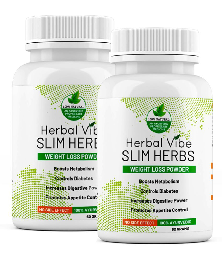Herbal Vibe Slim Herbs Weight Loss Powder 60 gm Unflavoured Pack of 2