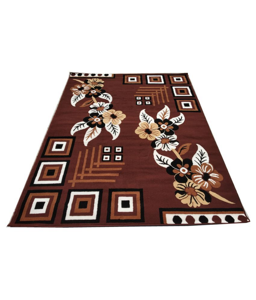 FIROZ AND BROTHERS Brown Polypropylene Carpet Floral 4x6 Ft