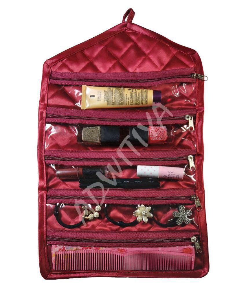 ADWITIYA   Satin Watch Anklet Chain Makeup Items Beauty Kit Utility Storage Travel Friendly Hanging Jewellery Organizer   Maroon