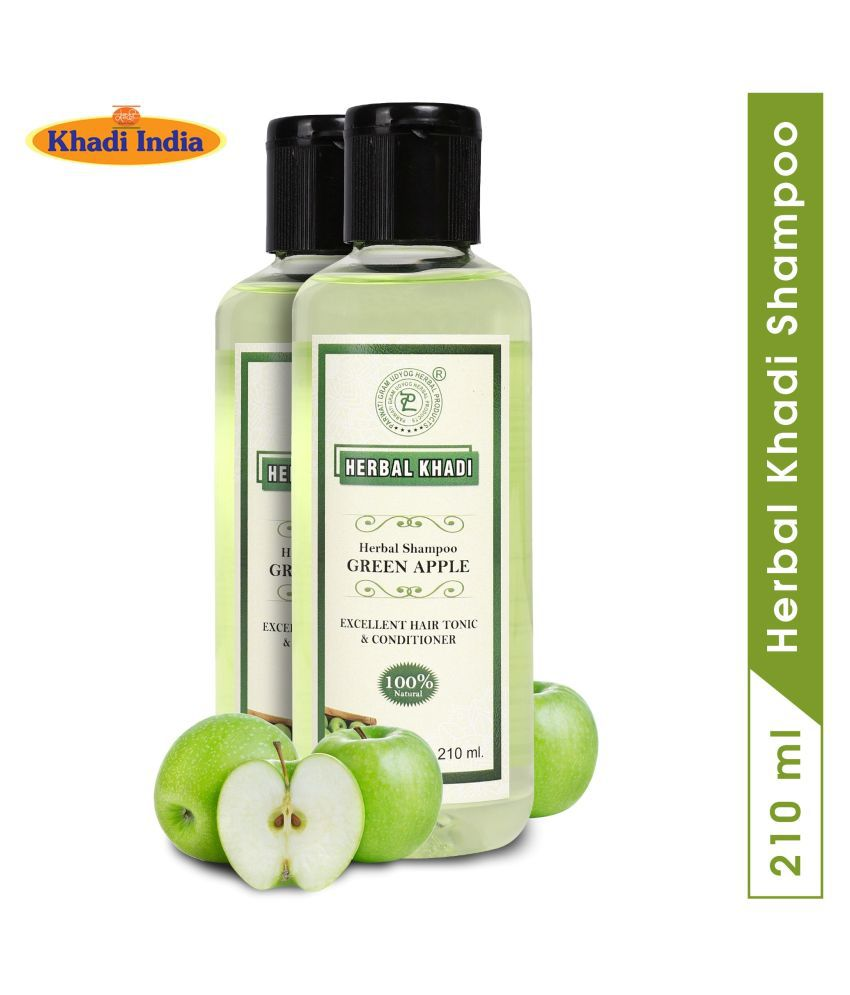 Herbal Khadi Green Apple Damage Repair Dandruff Shampoo 420 mL Pack of 2