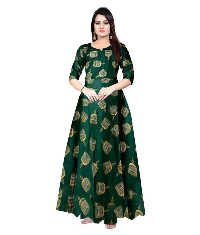 Trendy Fab Rayon Green A- line Dress
