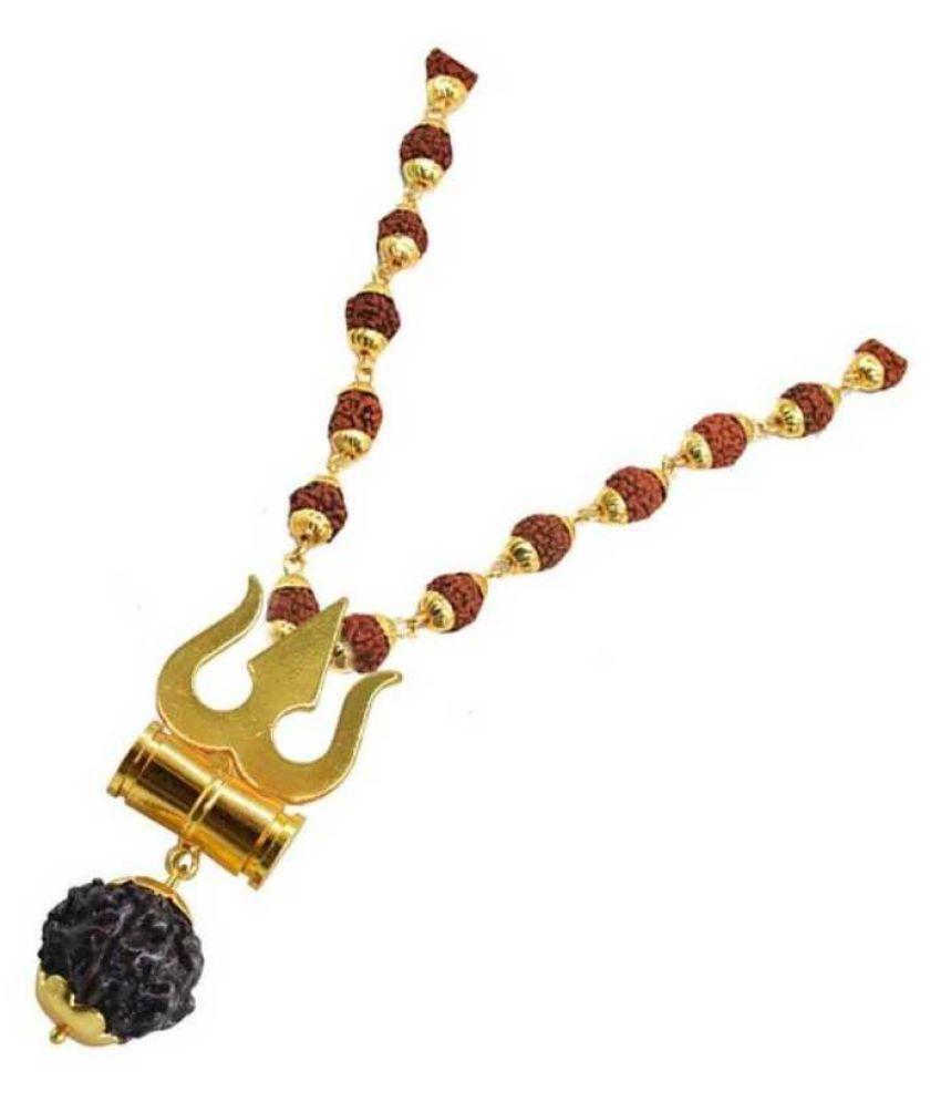 bhawna collection Loard Shiv Trishul Damru Locket With Puchmukhi Rudraksha Mala Gold-plated Brass, Wood