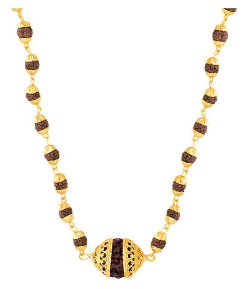 keshav original Rudraksha Mala with Big Rudraksha Pendand in Gold Plated Cap