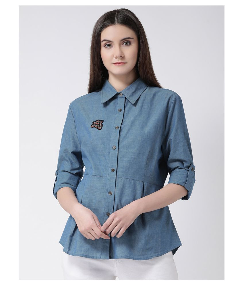 Aayna Blue Cotton Shirt